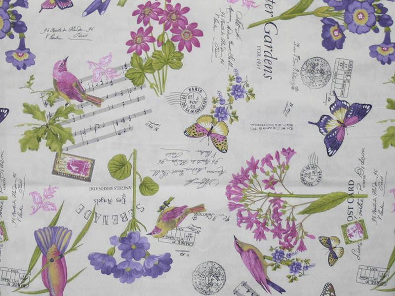 Печатные ткани - Простая печать на ткани bouquet-unico