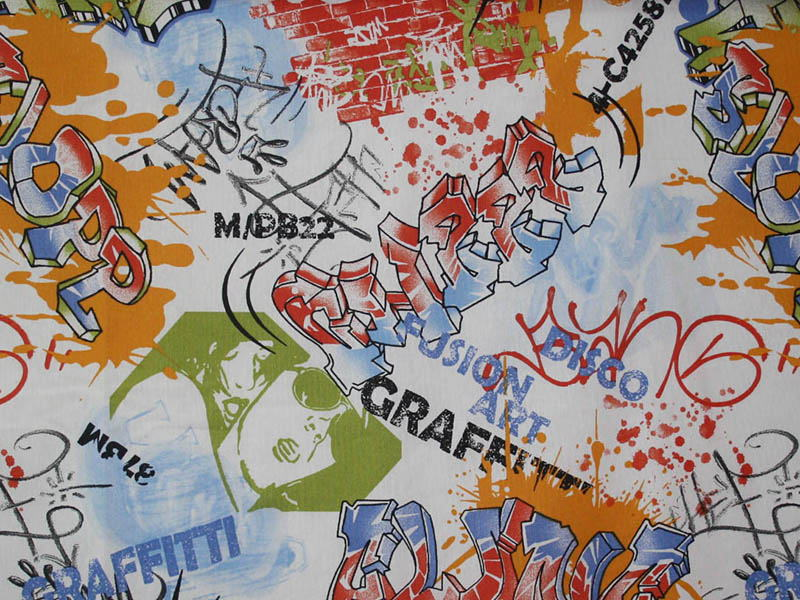 Печатные ткани - Простая печать на ткани graffiti