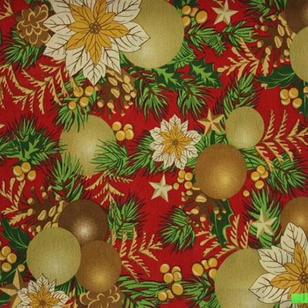 Новогодние ткани - 2016 по оптовым ценам и большой картой цветов на складе в Москве - acebo-natividad-rojo